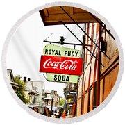 Royal Pharmacy Soda Sign Round Beach Towel