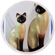 Royal Siamese - Ceramic Cats Round Beach Towel
