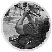 Royal Street Clarinet Player New Orleans Round Beach Towel