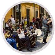 Royal Street Jazz Musicians Round Beach Towel