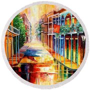Royal Street Reflections Round Beach Towel