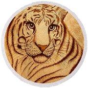 Royal Tiger Coffee Painting Round Beach Towel