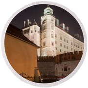Royal Wawel Castle By Night In Krakow Round Beach Towel