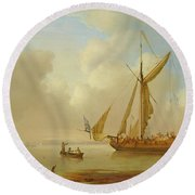 Royal Yacht Becalmed At Anchor Round Beach Towel