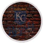 Royals Baseball Graffiti On Brick  Round Beach Towel by Movie Poster Prints