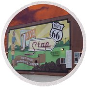 Rt 66 Dwight Il Java Stop Round Beach Towel