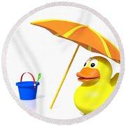 Rubber Duck At The Beach Round Beach Towel