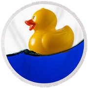 Rubber Ducky Rides A Wave Round Beach Towel