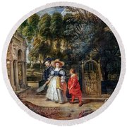 Rubens In His Garden With Helena Fourment Round Beach Towel