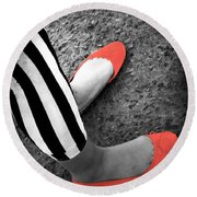 Rubies  And Stripes  Round Beach Towel