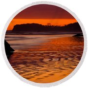 Ruby Beach Afterglow Round Beach Towel