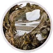 Ruby Beach Driftwood #3 Round Beach Towel