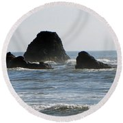 Ruby Beach Sea Stack Round Beach Towel