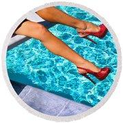 Ruby Heels Not In Kansas Palm Springs Round Beach Towel
