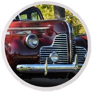 Ruby Red Buick Round Beach Towel