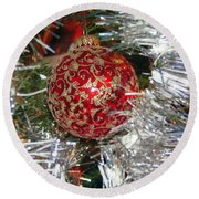 Ruby Red Ornament Round Beach Towel
