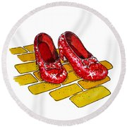 Ruby Slippers The Wizard Of Oz  Round Beach Towel by Irina Sztukowski