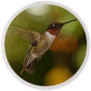 Ruby-throat Hummingbird Round Beach Towel