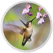 Ruby-throated Hummingbird - Digital Art Round Beach Towel