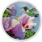 Ruby-throated Hummingbird Round Beach Towel