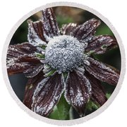 Rudbeckia First Frost Round Beach Towel