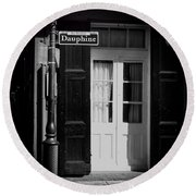 Rue Dauphine French Quarter New Orleans-monochrome Round Beach Towel