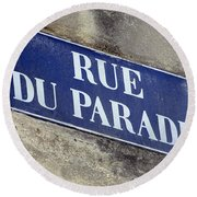 Rue Du Paradis Street Sign Round Beach Towel