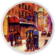 Rue St. Paul Old Montreal Streetscene In Winter Round Beach Towel