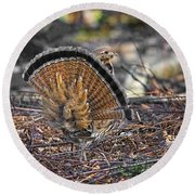 Ruffed Grouse Rear Strut Round Beach Towel
