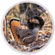 Ruffed Grouse Ruffed Up Round Beach Towel