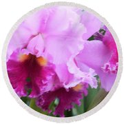 Ruffled Orchids Round Beach Towel