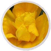 Yellow Ruffled Parrot Tulip Flower Round Beach Towel