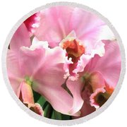 Ruffles And Flourishes Cattleya Orchids Round Beach Towel