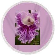 Ruffly Purple Orchid Closeup Round Beach Towel