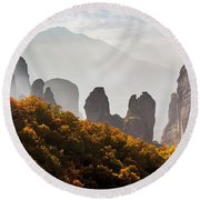 Rugged Cliffs And A Monastery  Meteora Round Beach Towel