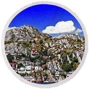 Rugged Cliffside Village Digital Painting Round Beach Towel