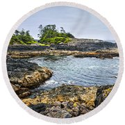 Rugged Coast Of Pacific Ocean On Vancouver Island Round Beach Towel