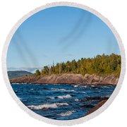 Rugged Lake Superior Coastline Round Beach Towel