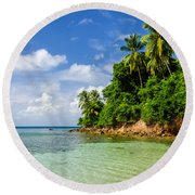 Rugged Lush Green Coastline Round Beach Towel