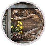 Ruggeri Roncoroni Guzzi Grave Marker Monumental Cemetery Milan Round Beach Towel