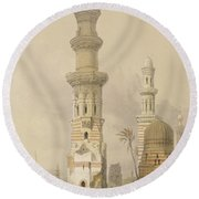 Ruined Mosques In The Desert Round Beach Towel by David Roberts