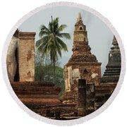 Ruins At Sukhotai Round Beach Towel