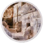 Ruins Round Beach Towel by Michelle Calkins