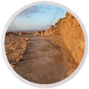 Ruins Of A Fort, Masada, Israel Round Beach Towel