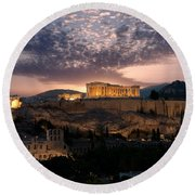 Ruins Of A Temple, Athens, Attica Round Beach Towel