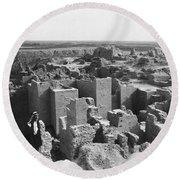 Ruins Of Babylon Round Beach Towel