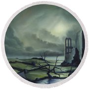 Ruins Of Cathedra Round Beach Towel