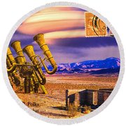 Ruins Of Fort James B. Polka And Prototype Gatling Tubas Round Beach Towel