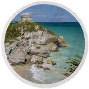 Ruins Of Mayan Temple Round Beach Towel