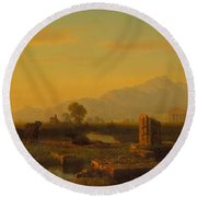 Ruins Of Paestum Round Beach Towel by Albert Bierstadt